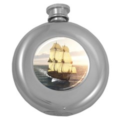 French Warship Hip Flask (Round)