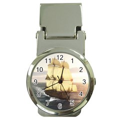 French Warship Money Clip with Watch