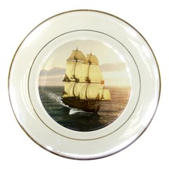 French Warship Porcelain Display Plate