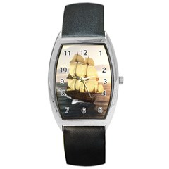 French Warship Tonneau Leather Watch
