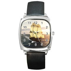 French Warship Square Leather Watch