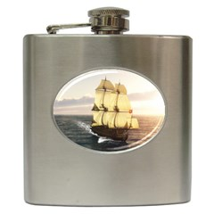 French Warship Hip Flask