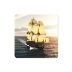 French Warship Magnet (square)