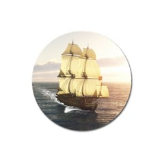 French Warship Magnet 3  (round)