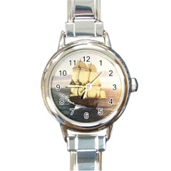 French Warship Round Italian Charm Watch