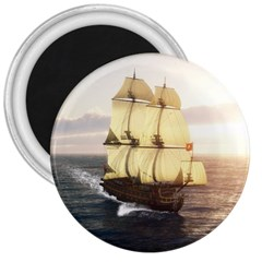 French Warship 3  Button Magnet