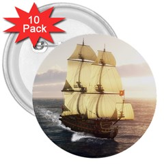 French Warship 3  Button (10 pack)