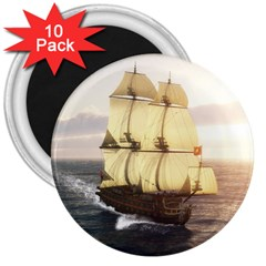 French Warship 3  Button Magnet (10 Pack)