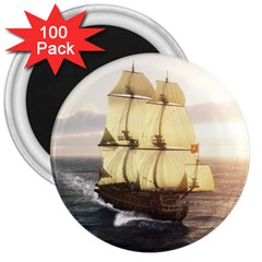 French Warship 3  Button Magnet (100 pack)