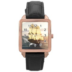 French Warship Rose Gold Leather Watch