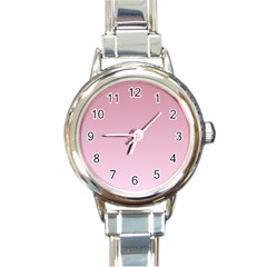 Puce To Pink Lace Gradient Round Italian Charm Watch