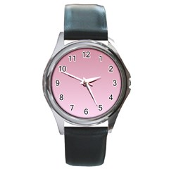 Puce To Pink Lace Gradient Round Metal Watch (Silver Rim)