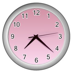 Puce To Pink Lace Gradient Wall Clock (Silver)