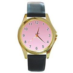 Puce To Pink Lace Gradient Round Metal Watch (gold Rim)