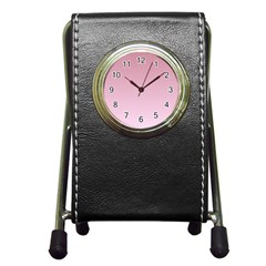 Puce To Pink Lace Gradient Stationery Holder Clock