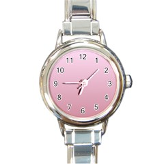 Pink Lace To Puce Gradient Round Italian Charm Watch