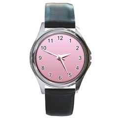 Pink Lace To Puce Gradient Round Metal Watch (Silver Rim)
