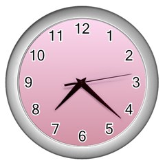 Pink Lace To Puce Gradient Wall Clock (silver)