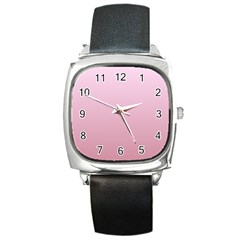 Pink Lace To Puce Gradient Square Leather Watch
