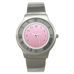 Pink Lace To Puce Gradient Stainless Steel Watch (Unisex)