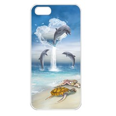 The Heart Of The Dolphins Apple iPhone 5 Seamless Case (White)