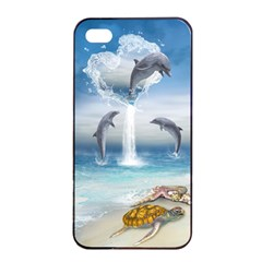 The Heart Of The Dolphins Apple Iphone 4/4s Seamless Case (black)