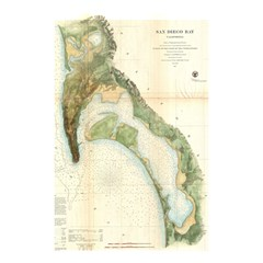 Vintage San Diego Bay Map (1857) Shower Curtain 48  X 72  (small)