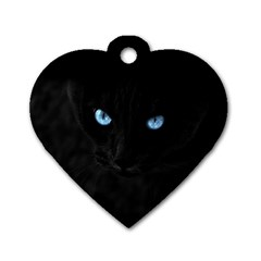 Black Cat Dog Tag Heart (Two Sided)