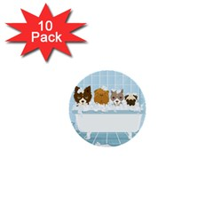 Dogs In Bath 1  Mini Button (10 Pack)