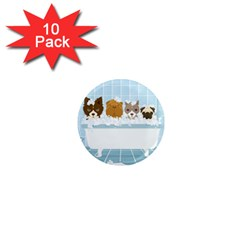 Dogs In Bath 1  Mini Button Magnet (10 Pack)