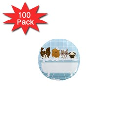Dogs in Bath 1  Mini Button Magnet (100 pack)