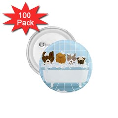 Dogs In Bath 1 75  Button (100 Pack)