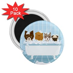 Dogs in Bath 2.25  Button Magnet (10 pack)
