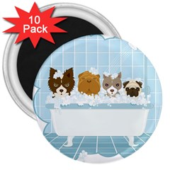 Dogs In Bath 3  Button Magnet (10 Pack)