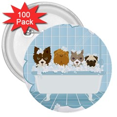 Dogs in Bath 3  Button (100 pack)