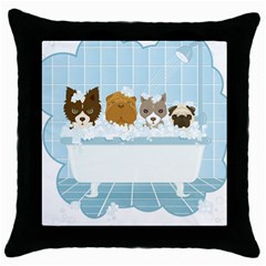 Dogs in Bath Black Throw Pillow Case