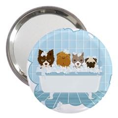 Dogs In Bath 3  Handbag Mirror