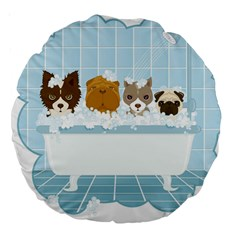 Dogs In Bath 18  Premium Round Cushion