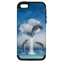 The Heart Of The Dolphins Apple iPhone 5 Hardshell Case (PC+Silicone)