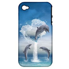 The Heart Of The Dolphins Apple iPhone 4/4S Hardshell Case (PC+Silicone)