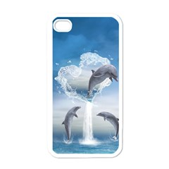 The Heart Of The Dolphins Apple iPhone 4 Case (White)