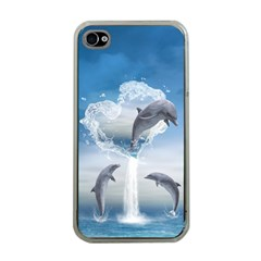 The Heart Of The Dolphins Apple iPhone 4 Case (Clear)