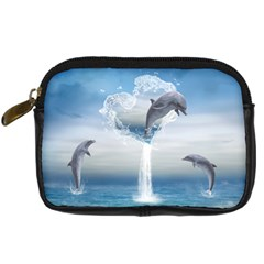 The Heart Of The Dolphins Digital Camera Leather Case