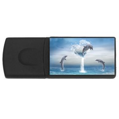 The Heart Of The Dolphins 2GB USB Flash Drive (Rectangle)