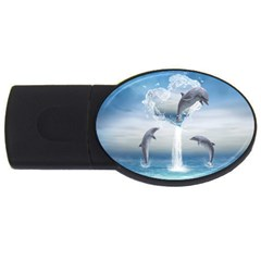 The Heart Of The Dolphins 4gb Usb Flash Drive (oval)
