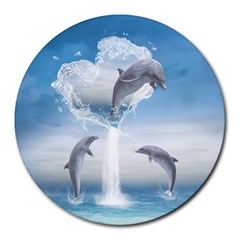The Heart Of The Dolphins 8  Mouse Pad (Round)