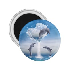 The Heart Of The Dolphins 2.25  Button Magnet