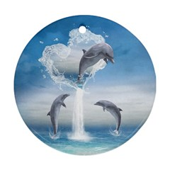The Heart Of The Dolphins Round Ornament