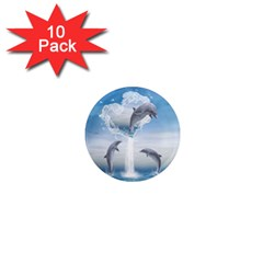 The Heart Of The Dolphins 1  Mini Button Magnet (10 pack)