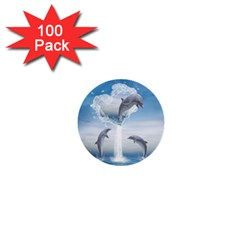 The Heart Of The Dolphins 1  Mini Button (100 pack)